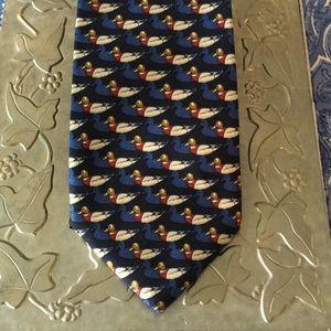 Brooks Brothers blue Mallard duck tie XL